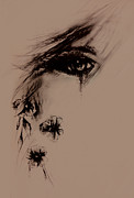 Anguish Drawings Prints - Tear Print by Rachel Christine Nowicki