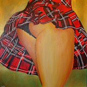 January Paintings - Tease Me In Tartan by Tracey Harrington-Simpson
