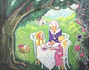 Girls Mixed Media - Teatime in Tashas Garden by Barbara LeMaster