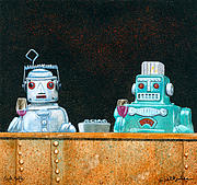 Robots Framed Prints - Tech Talk... Framed Print by Will Bullas