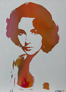 Elizabeth Taylor Paintings - Technicolour Elizabeth Taylor by Gary Hogben