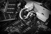 Component Metal Prints - Technology - Motherboard in black and white Metal Print by Paul Ward