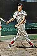 Boston Red Sox Posters - Ted Williams Painting Poster by Florian Rodarte