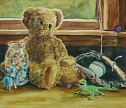 Window Seat Framed Prints - Teddy and Friends Framed Print by Jenny Armitage