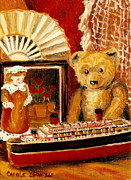 Toy Boat Painting Posters - Teddy Bear With Tugboat Doll And Fan Childhood Memories Old Toys And Collectibles Nostalgic Scenes  Poster by Carole Spandau