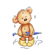 Rain Drop Drawings Prints - Teddy Bear With Umbrella Print by Anna Abramska