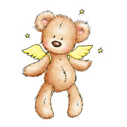 Animal Art Drawings Prints - Teddy Bear With Wings Print by Anna Abramska