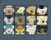 Textile Collage Posters - Teddy Bears horizontal Poster by Janet Carlson