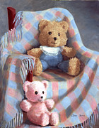 Shawl Paintings - Teddy Bears in a Rocker by Carol Reesor