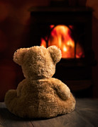 Toy Photo Prints - Teddy By The Fire Print by Christopher and Amanda Elwell
