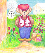 American Story Art Prints - Teddy Travels To Holland Print by Barbara LeMaster