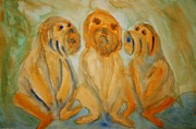 Linked Painting Prints - Teddybears patiently waiting   Print by Hilde Widerberg