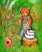 Watering Can Mixed Media - Teddys Waiting For The Baby Birds by Barbara LeMaster