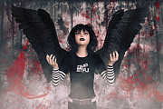 Cries Metal Prints - Teen Angel - Alternate Version Metal Print by Liam Liberty