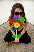 Posing Metal Prints - Teenage Girl Hiding Behind Toy Flower Metal Print by Amy Cicconi