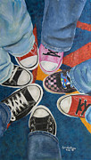Converse Paintings - Teens in Converse Tennies by Lynda Coon