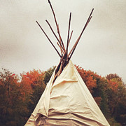Beige Framed Prints - Teepee in Autumn Framed Print by Brooke Ryan