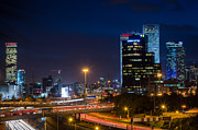 Tail Lights Photos - Tel Aviv at Night by David Morefield