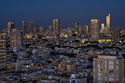 Kaballah Framed Prints - Tel Aviv at the twilight magic hour Framed Print by Ron Shoshani