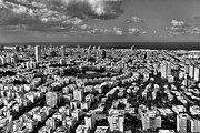 Lookout Posters - Tel Aviv center Black and White Poster by Ron Shoshani