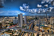 Landscape Greeting Cards Digital Art Framed Prints - Tel Aviv center skyline Framed Print by Ron Shoshani
