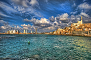 Israeli Digital Art Framed Prints - Tel Aviv Jaffa shoreline Framed Print by Ron Shoshani