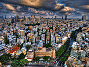 Meditative Digital Art Prints - Tel Aviv lookout Print by Ron Shoshani