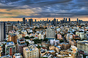 Blue Framed Prints - Tel Aviv skyline winter time Framed Print by Ron Shoshani
