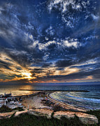 Holyland Prints - Tel Aviv sunset at Hilton beach Print by Ron Shoshani