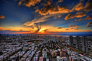 Judaica Digital Art Posters - Tel Aviv sunset time Poster by Ron Shoshani