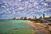 Israeli Digital Art Metal Prints - Tel Aviv turquoise sea at springtime Metal Print by Ron Shoshani