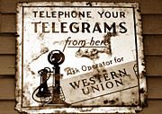 Antique Telephone Posters - Telegram from here Poster by David Lee Thompson