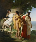 Drapery Framed Prints - Telemachus and Eucharis Framed Print by Raymond Quinsac Monvoisin