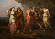 Famous Artists - Telemachus and the Nymphs of Calypso by Angelica Kauffmann