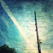 Electricity Prints - Telephone pole and wide contrail Print by Amy Cicconi