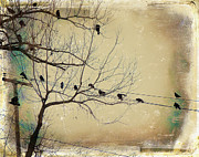 Crow Collage Prints - Telephone Wires Print by Gothicolors And Crows