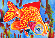 Telescope Mixed Media Framed Prints - Telescope Eye Goldfish Framed Print by Irina Chernysheva
