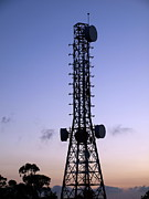 Broadcast Antenna Acrylic Prints - Television Transmission Tower at Dusk Acrylic Print by Yali Shi