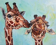 Giraffes Paintings - Tell me about it... by Erlinde Ufkes Stephanus