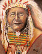 Chief Drawings Originals - Tells a Story Native American Indian by Sandra Cutrer