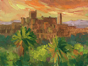 Wineries Painting Prints - Telouet Kasbah Print by Diane McClary