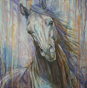 Horses Paintings - Tempest by Silvana Gabudean