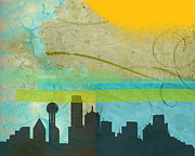 Dallas Skyline Digital Art Prints - Tempestuous City Print by Deborah Willow