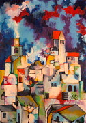 Templar Paintings - Templars Colony Jerusalem by Moshe BenReuven