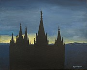 Lds Painting Originals - Temple at Twilight by Robert Jenson