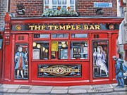 U2 Painting Metal Prints - Temple Bar Dublin Ireland Metal Print by Melinda Saminski