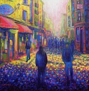 Impressionism Acrylic Prints Paintings - Temple Bar Dublin by John  Nolan