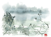 Chinese Watercolor Paintings - Temple By The Lake by Sean Seal