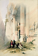 Figures Painting Prints - Temple called El Khasne Print by David Roberts
