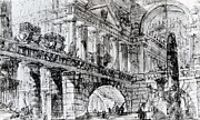 Stone Drawings Posters - Temple Courtyard Poster by Giovanni Battista Piranesi